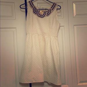 Francesca's white dress w/sequin bib collar